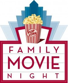 The words Family Movie Night are centrally placed in a red box. A popcorn box sits above the words.