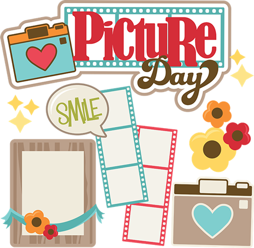 The words Picture Day are surrounded by colorful cameras, flowers, and filmstrips.