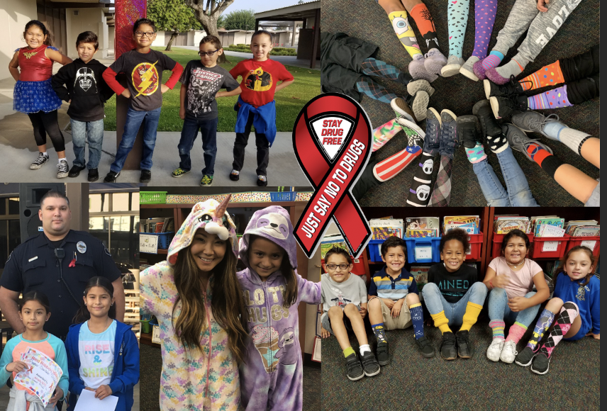 collage of kids in spirit day dress (crazy socks, pj, super hero) with red ribbon graphic