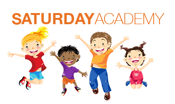 Four happy children jumping with the words Saturday Academy written above them.